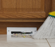 Gives you the convenience of a broom and dustpan with no stooping or bending. Turn it on with a toe switch, sweep crumbs toward the inlet and watch the powerful suction whisk them away.
