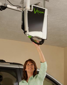 Utilizing a unique hanging bracket and readily available fixtures, the Vroom can be mounted from the garage ceiling for easy accessibility. Once installed, a user simply has to reach up and take hold of the hose handle to clean out multiple cars or other garage items. Unlike traditional garage vacuums, the Vroom Garage is unique in the fact that it takes no additional storage space. The ceiling suspension provides the user with a service bay experience.