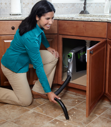 Vroom installs neatly inside most standard cabinets so it's there when you need it, but tucked away out of sight when you don't. It's perfect for everyday use, anytime you need to clean a mess fast. Plus, no more lugging around your central vacuum hose or gathering multiple supplies – broom, sponge or paper towels.